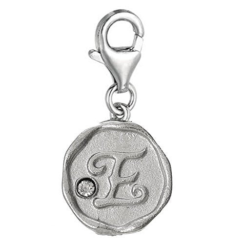 Alphabet E Letter Charm Pendant for European Clip on Charm Jewelry w/ Lobster Clasp