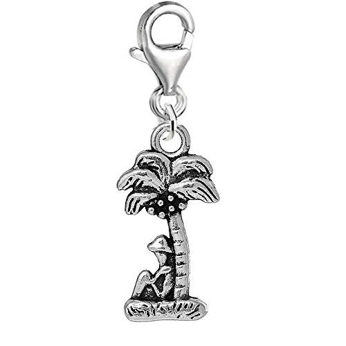Man Under Palm Tree on Vacation Beach Clip on Pendant Charm for Bracelet or Necklace