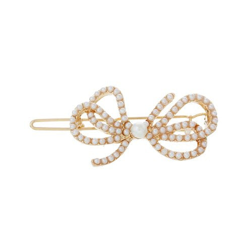 Hair Pin Clips Rose Gold Tone with Imitaiton Pearls Choose Your Design From Menu (Bowknot 5.3cm X 2.9cm) - Sexy Sparkles Fashion Jewelry