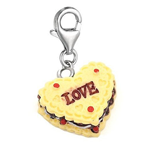 Heart Love Cake Clip on Charm Pendant for European Charm Jewelry w/ Lobster Clasp