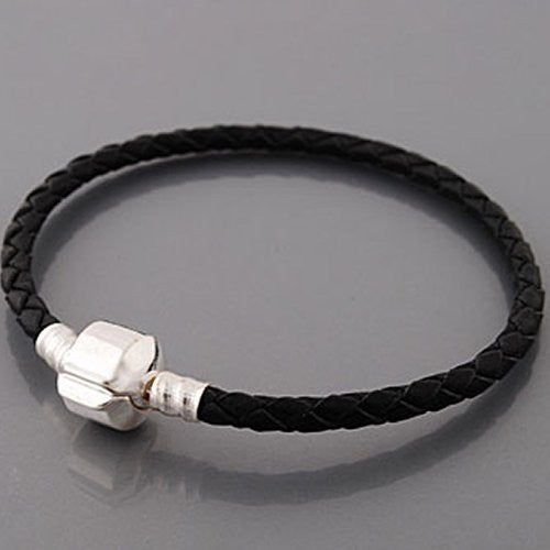 "8.0"" Genuine Leather Black Bracelet fits European Charms Compatible"