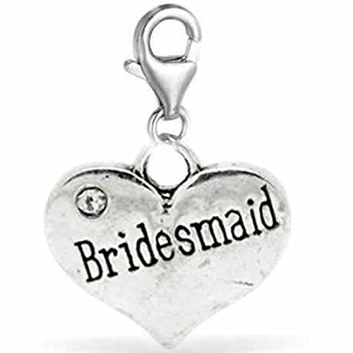 Clip on Wedding Bridesmade Heart w/ Crystals Charm Dangle Pendant for European Clip on Charm Jewelry w/ Lobster Clasp