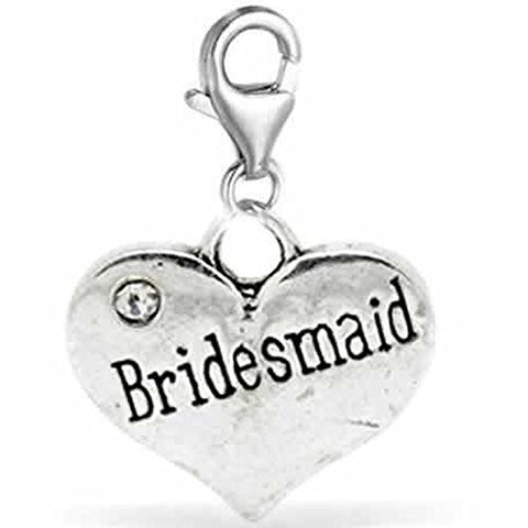Clip on Wedding Bridesmade Heart w/ Crystals Charm Dangle Pendant for European Clip on Charm Jewelry w/ Lobster Clasp - Sexy Sparkles Fashion Jewelry - 1