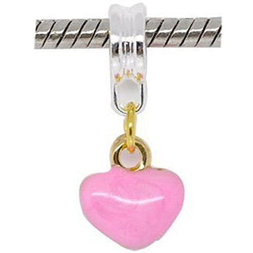 Two Tone Enamel Pink Hearts Charm Bead Dangle in Assorted s