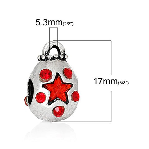 Money Bag With Red Crystals Charm Bead Spacer for European Snake Chain Charm Bracelets - Sexy Sparkles Fashion Jewelry - 3