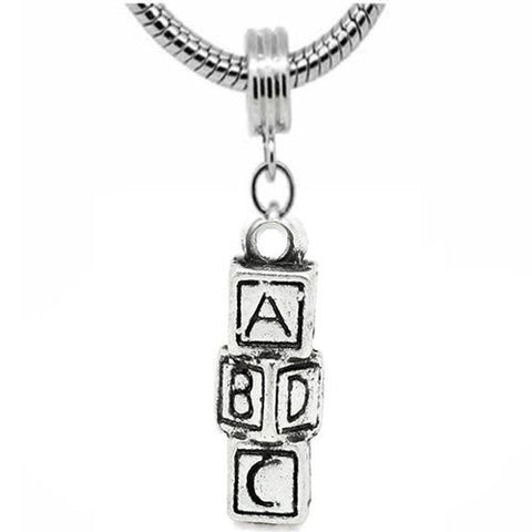 ABCD Block Charm Dangle European Bead Compatible for Most European Snake Chain Bracelet - Sexy Sparkles Fashion Jewelry - 2