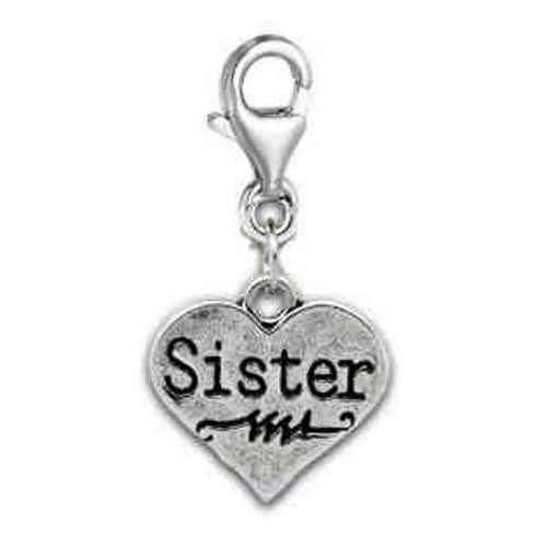 Clip on Sister on Heart Charm Pendant for European Jewelry w/ Lobster Clasp