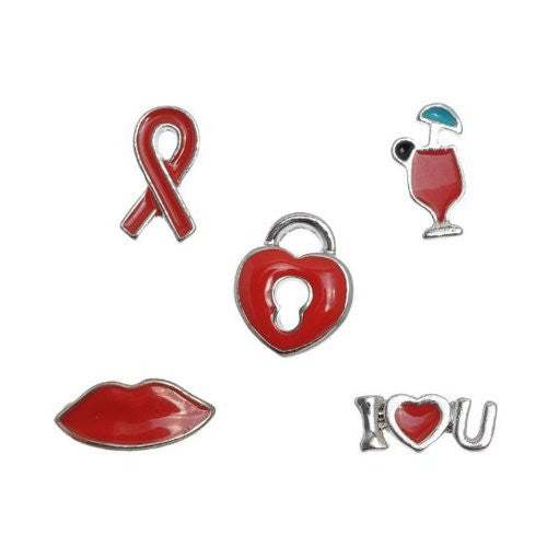 Set of 5 Floating Locket Charms (I Love You,heart Lock,lip/kiss,awareness Ribbon & Glass Drink)