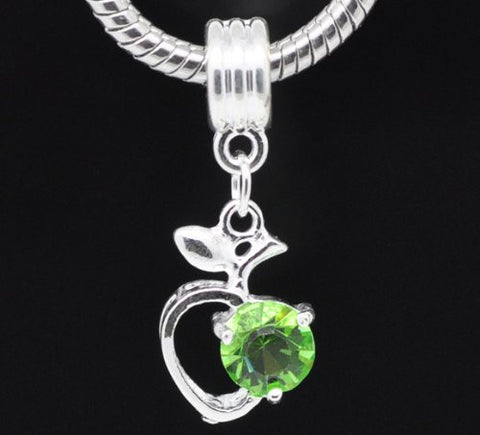Green Rhinestone Apple Heart Dangle Bead Compatible for Most European Snake Chain Braceletfor Snake Chain Bracelet - Sexy Sparkles Fashion Jewelry - 2