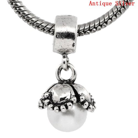Dangle White Acrylic Pearl Flower European Bead Compatible for Most European Snake Chain Bracelet - Sexy Sparkles Fashion Jewelry - 2
