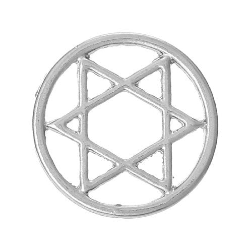 Star Of David Floating Charms Dish Plate for Glass Locket Pendants and Floating