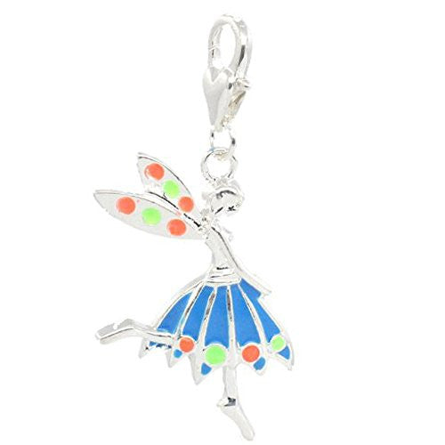 Clip on Blue Fairy Charm Pendant for European Jewelry w/ Lobster Clasp