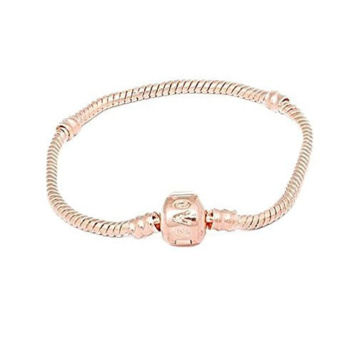 "8.5"" Rose Gold Plated Snake Chain Barrel Clasp Pandora Style Fits Chamilia Zable Kay Charms"