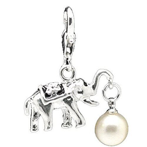 Clip on Elephant with White Imitation Pearl Charm for European Jewelry w/ Lobster Clasp