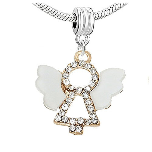 Angel Charm Bead with  Crystals for Snake Chain Charm Bracelet