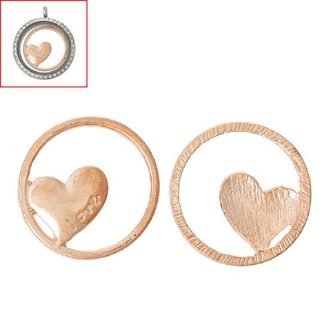 Love heart Rose Gold Tone Floating Charms Dish Plate for Glass Locket Pendants and Floating - Sexy Sparkles Fashion Jewelry - 3