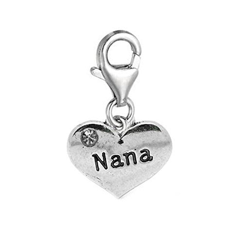 Clip on Nana Love Charm Pendant for European Jewelry w/ Lobster Clasp