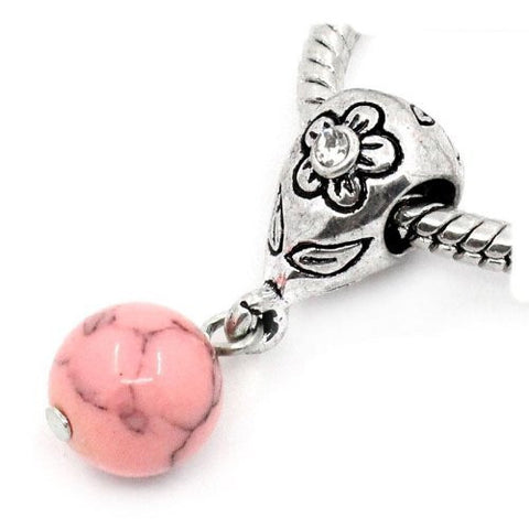 Pink Dangle Ball with Rhinestones Bead Charm Spacer for Snake Chain Charm Bracelets - Sexy Sparkles Fashion Jewelry - 4