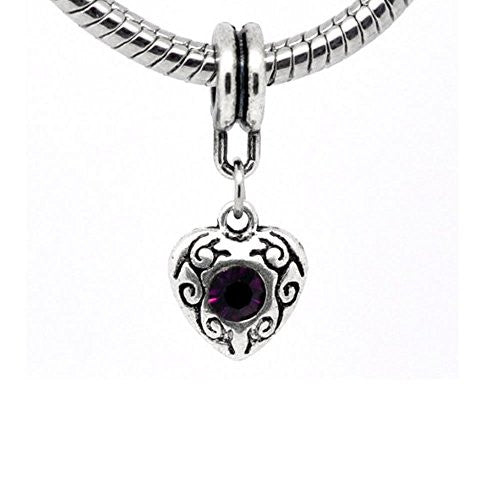 Purple Heart Dangle European Bead Compatible for Most European Snake Chain Charm Bracelet