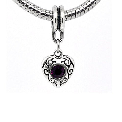 Purple Heart Dangle European Bead Compatible for Most European Snake Chain Charm Bracelet - Sexy Sparkles Fashion Jewelry - 1