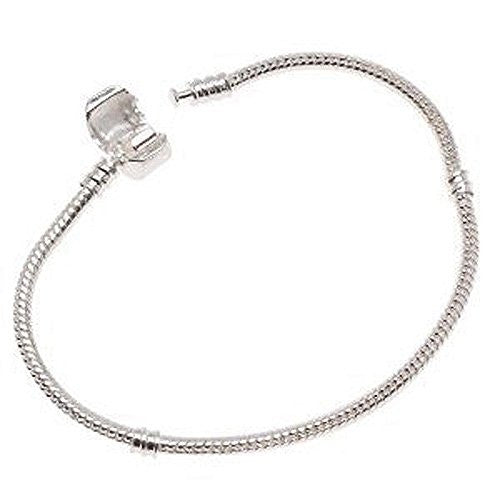 Silver Tone Snake Chain Classic Bead Barrel Clasp Bracelet for Beads Charms.6.5
