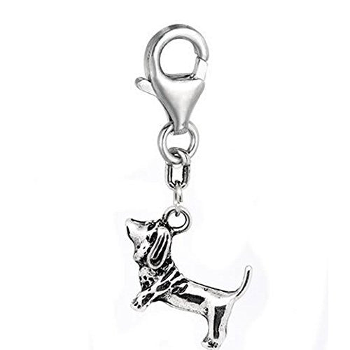 Clip on Hound Dog Charm Pendant for European Jewelry w/ Lobster Clasp