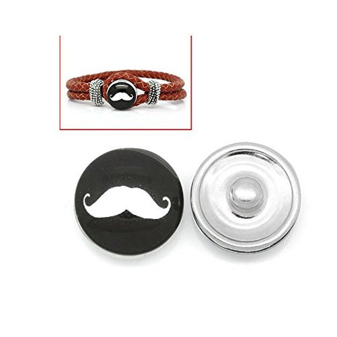 Mustache Design Glass Chunk Charm Button Fits Chunk Bracelet 18mm for Noosa Style Chunk Leather Bracelet - Sexy Sparkles Fashion Jewelry - 1
