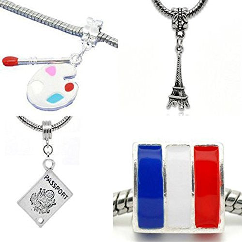 Set of Four (4) Charms Trip to Paris Charm Beads For Snake Chain Bracelet