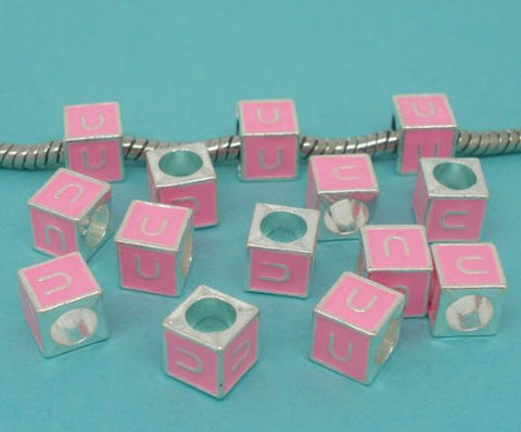 """U"" Letter Square Charm Beads Pink Enamel European Bead Compatible for Most European Snake Chain Charm Bracelets - Sexy Sparkles Fashion Jewelry - 2"