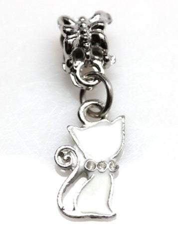 White Cat Dangle European Bead Compatible for Most European Snake Chain Charm Bracelet