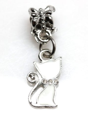 White Cat Dangle European Bead Compatible for Most European Snake Chain Charm Bracelet - Sexy Sparkles Fashion Jewelry - 1