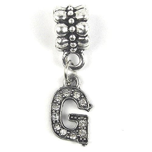 """G"" Letter Dangle Charm Beads with Crystals for Snake Chain Charm Bracelet - Sexy Sparkles Fashion Jewelry"