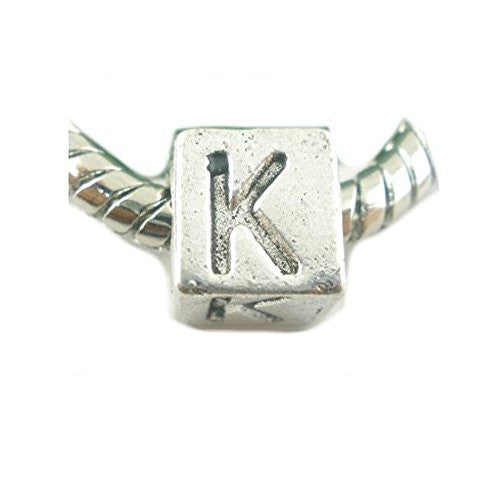One Alphabet Block Beads Letter K for European Snake Chain Charm Braclets
