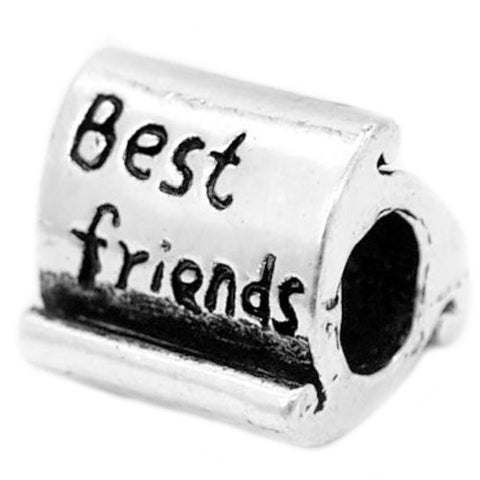 Best Friends Bead Charm Spacer For Snake Chain Charm Bracelet - Sexy Sparkles Fashion Jewelry - 1