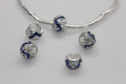 Clear and Royal Blue  Crystal Charm Bead for snake charm Bracelet - Sexy Sparkles Fashion Jewelry - 2