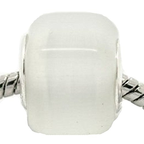 White Cats Eye Glass Cube European Bead Compatible for Most European Snake Chain Bracelet