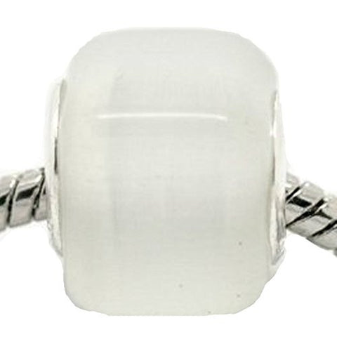 White Cats Eye Glass Cube European Bead Compatible for Most European Snake Chain Bracelet - Sexy Sparkles Fashion Jewelry - 1