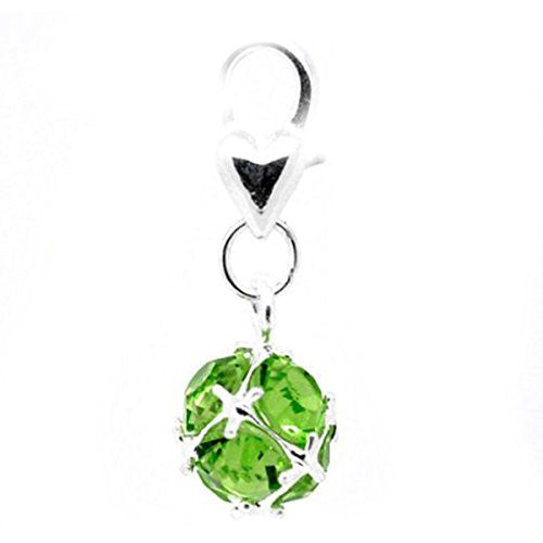 Clip on August Birthstone Charm Pendant for European Jewelry w// Lobster Clasp