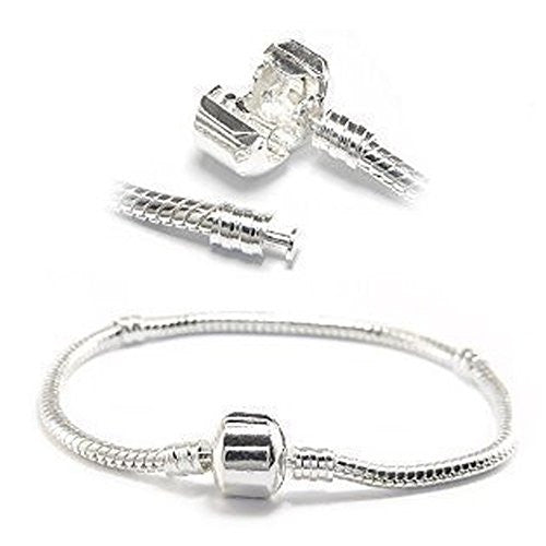 "7"" Snake Chain Classic Bead Barrel Clasp Bracelet for European Charms"