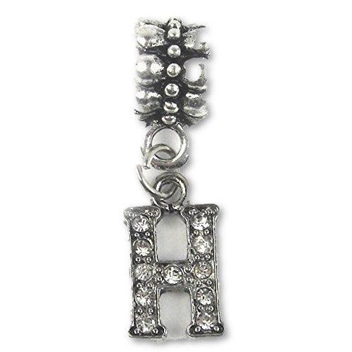 """H"" Letter Dangle Charm Beads with Crystals for Snake Chain Charm Bracelet - Sexy Sparkles Fashion Jewelry"
