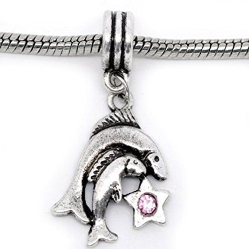 Pisces Zodiac Charm W/pink Crystal Dangle Bead for Snake Bracelets