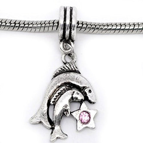 Pisces Zodiac Charm W/pink Crystal Dangle Bead for Snake Bracelets - Sexy Sparkles Fashion Jewelry - 1