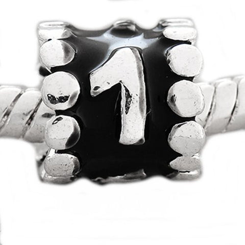 "Black Enamel Number Charm Bead  ""1"" European Bead Compatible for Most European Snake Chain Charm Bracelets - Sexy Sparkles Fashion Jewelry - 3"