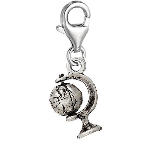 Earth Globe Clip On Pendant for European Charm Jewelry w/ Lobster Clasp