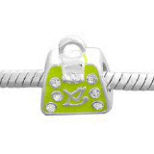 Handbag W/Lime Cz Charm Bead for Snake Chain Bracelet