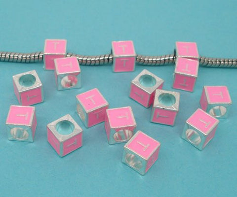"""T"" Letter Square Charm Beads Pink Enamel European Bead Compatible for Most European Snake Chain Charm Bracelet - Sexy Sparkles Fashion Jewelry - 2"