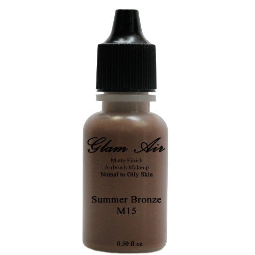 Large Bottle Airbrush Makeup Foundation Matte Finish M15 Summer Bronze Water-based Makeup Lasting All Day 0.50 Oz Bottle By Glam Air - Sexy Sparkles Fashion Jewelry - 1