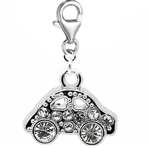 Rhinestone Clip on Car Dangle Charm Pendant for European Clip on Charm Jewelry w/ Lobster Clasp