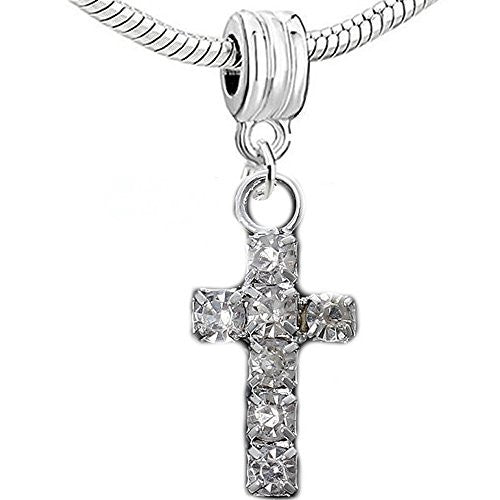 Cross with Clear  Crystals Charm European Bead Compatible for Most European Snake Chain Bracelet - Sexy Sparkles Fashion Jewelry