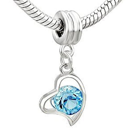 Turquoise  Rhinestone Heart Dangle Charm European Bead Compatible for Most European Snake Chain Bracelet